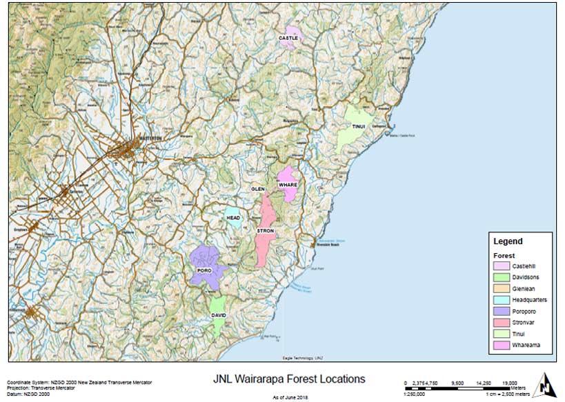 Wairarapa New Zealand Map.Our Forests Juken New Zealand